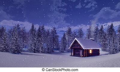 solitaire, hiver, cabine, nuit, montagne, chute neige