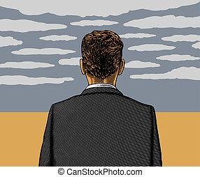 solitaire, homme, à, ciel nuageux