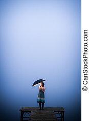 solitaire, parapluie, femme, protège, froid, jour