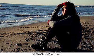 solitaire, sentiment, triste, jeune femme