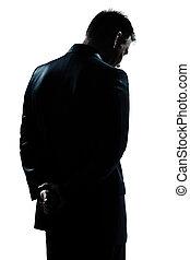 solitaire, silhouette, arrière, triste, désespoir, portrait, homme