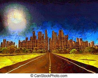 solitario, city., pintura