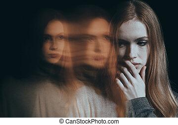 solitario, donna, depresso