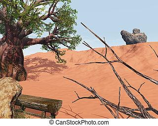 solitario, posto, in, outback