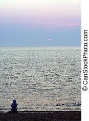 solitario, tramonto
