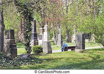 solitario, uomo, in, uno, cimitero