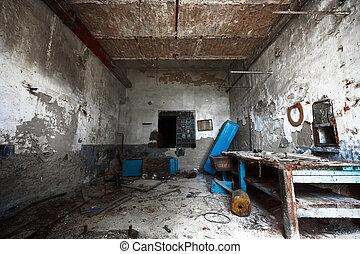 solitario, viejo, cerrajero, taller, sucio, vacío