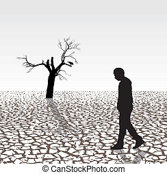 Illustration of the last humans, crows and tree in the arid country