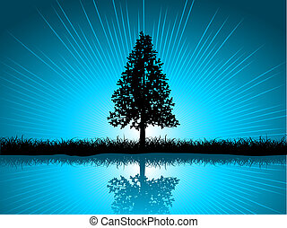 Silhouette of a solitary fir tree reflected in water