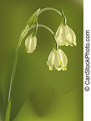 solitary flower - stylised flower on a green background...