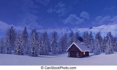 Solitary log cabin in mountains at winter night 4K