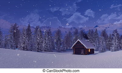 Solitary log hut in mountain at snowy winter night -...