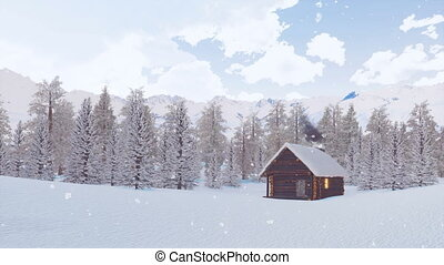 Solitary log hut in mountains at snowy winter day