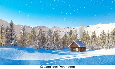 Solitary mountain cabin at snowfall winter day - Peaceful...