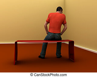 solitude - 3d man sits facing wall in empty room