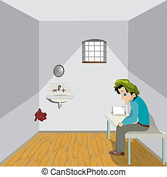 Cartoon drawing of a sad man in a lonely room.