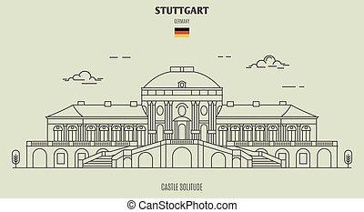 solitudine, germany., stuttgart, punto di riferimento, castello, icona
