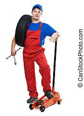sollevamento, automobile, riparatore, cricco, pneumatico