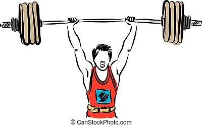 sollevamento peso, illustrazione, uomo