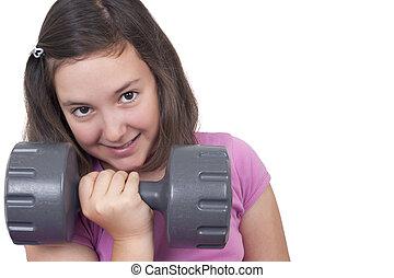 sollevamento, ragazza adolescente, peso