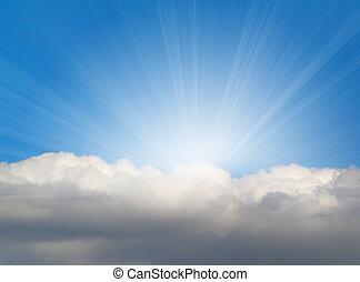 solljus, bakgrund, med, moln