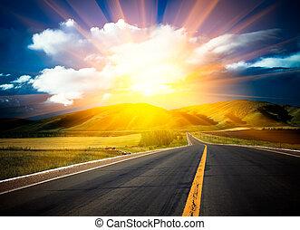 solljus, ovanför, den, road.