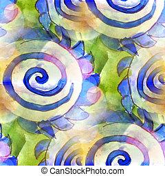 sollys, grønne, blå, ornamentere, makro, plet, blotch, tekstur, baggrund