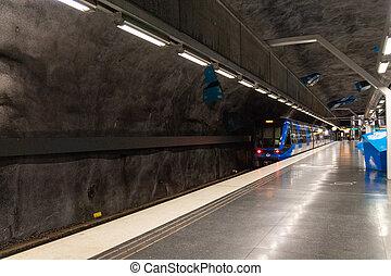 Solna Strand Metro Station in Stockholm, Sweden. Train in Stockholm underground metro station