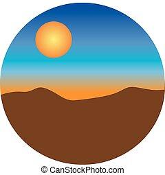 solnedgång, öken
