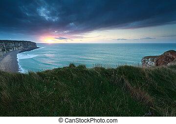 solnedgång, över, atlant- ocean, in, frankrike