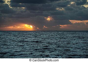 solnedgång, över, atlant- ocean