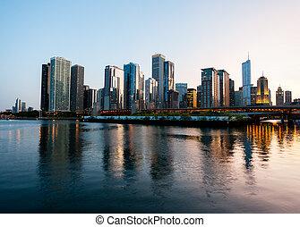 solnedgång, över, chicago, från, marinblå pir