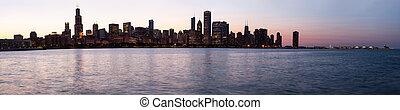 solnedgång, över, chicago, från, observatorium