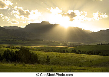 solnedgång, över, drakensberg, mountains