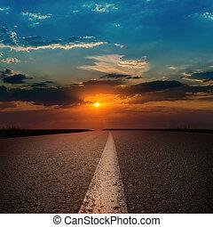 solnedgång, asfalt, väg
