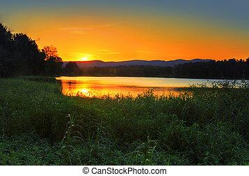 solnedgång, bak, blå fjäll, australien