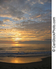 solnedgång, borra, strand