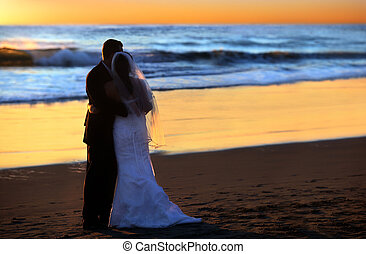 solnedgång, bröllop