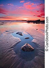 solnedgång, fridsam, Motorväg, kust