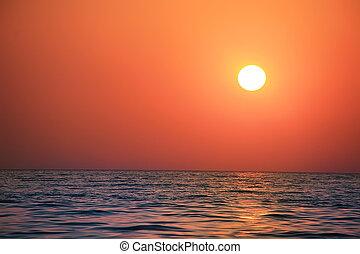 solnedgång, hav, landskap