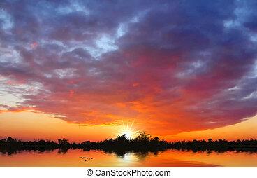 solnedgång, hos, den, insjö