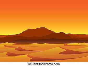 solnedgång, in, öken