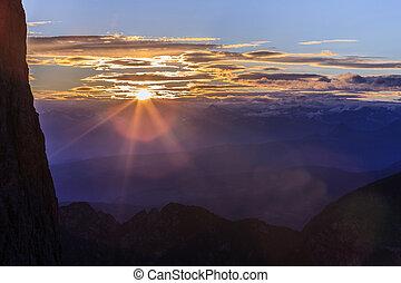 solnedgång, in, italiensk, dolomiterna