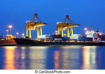 solnedgång, industriell, hamn, skeppning, thailand, bangkok