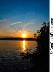 solnedgång, insjö, landskap