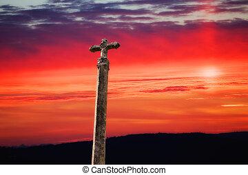 solnedgång, kors