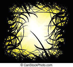 solnedgång, landskap, med, gräs