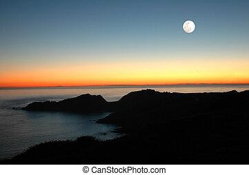 solnedgång, måne