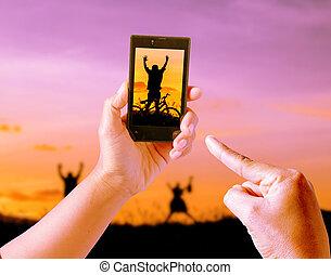 solnedgång, natur, mobil, bilder, tagande, fläck, silhuett, leka, ringa, bakgrund, frihet, barn, lycka