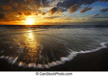 solnedgång, och, vågor